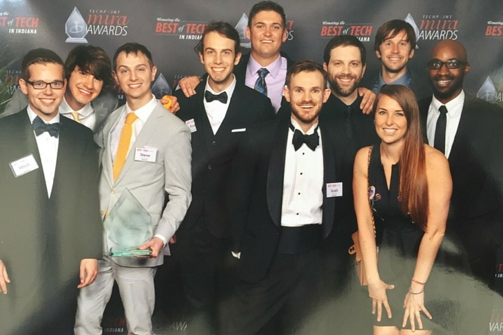 Lesson.ly team members and friends pose for a fun picture together after winning the Mira Award for Tech Startup of the Year at the 2015 gala.